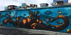 Katch Up! (wiredforlego) Tags: graffiti mural streetart urbanart aerosolart publicart honolulu oahu hawaii pow powwowhawaii katch dinosaur