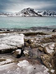 Arctic Lofoten Rock Beach (Bliss Photo) Tags: norge norway norwegian winter articcircle artic ice rocks mountains waves mood aquawater