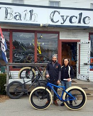 Kate with Zach after with the bike ready to be packed away for travelling
