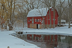 HE1A9081mm-20L (Joyce_E_Landean (Trying to get back at it)) Tags: redbarns snow trees upstateny monroecounty webster barn winterbarns winter reflection covered wagon
