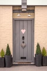 Love this door (Jez22) Tags: door doorway entrance heart hearts pots trees grey cream color pink pottedplants decoration photograph copyright jeremysage kent england wooden