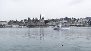 Luzern Lucerne on a rainy day Switzerland