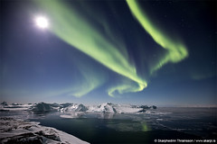 Aurora & Ice (skarpi - www.skarpi.is) Tags: greenland aurora northernlights arctic arcticart arcticcircle arcticeposure green moon icefjord ice glacier