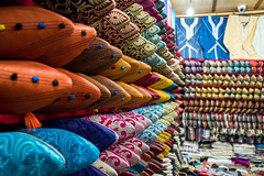 Shoe shop in Fès, Morocco (Phototravelography) Tags: schuhe products royalcity morocco selling shop orange quality scarpe blue fès shoes northafrica beautiful nice leather oriental colourful footwear fez yellow exotic maghreb