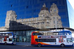 Red Dead Redemption (TERRY KEARNEY) Tags: reflections buses bus architecture buildingsarchitecture buildingstructure building portofliverpoolbuilding transport skyline sky autumn buildings canoneos1dmarkiv daylight day explore europe england kearney cityscape city liverpoolcitycentre liverpool merseyside nature oneterry outdoor november people rivermersey sunshine terrykearney unesco urban weather 2018 reddeadredemption pierheadliverpool road window door
