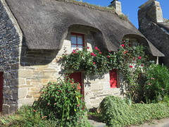 Chaumière bretonne (Traveling with Simone) Tags: chaumière thatchedroof maison chaume iris paille garden jardin roses fleurs flowers red rot rouge cottage