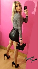 Leather Look Back (jessicajane9) Tags: tg crossdresser tgurl crossdress transvestite cd tranny xdress leather trans m2f tv crossdressing feminization transgender pantyhose tgirl