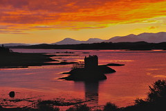 Under a blood red sky (images@twiston) Tags: underabloodredsky castle stalker sunset lochlaich lochlinnhe appin loch morvern argyle argyleandbute shuna island togs islet water sea dusk darkness red crimson intense clouds u2 cloud reflections highlands islands scotland landscape hill hills mountains imagestwiston scottishhighlands silhouette silhouettes silhouetted fire nisi gnd reversegrad