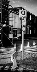 Day 317. (lizzieisdizzy) Tags: blackandwhite blackwhite black whiteandblack white whiteblack monochrome monotone mono monochromatic chromatic streetsign signdirection wrongsign upsidedown carparking