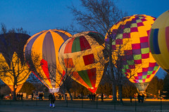 Balloon Glow (geophotocacher) Tags: aircraft albuquerque balloons christmas holidays mdrokkorx50f14 nm newmexico bluehour geophotocacher hotairbaloons balloonglow