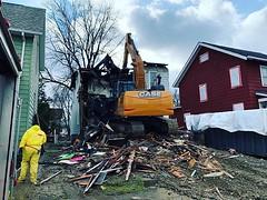 Fire 🔥 Damaged Controlled Demolition with Asbestos in Place #rochesterny #dumpsterrental #demolitioncontractors #demo #demolition #wrecking #asbestos #asbestosdemolition (expertdumpster) Tags: demolition rochester ny dumpster rental