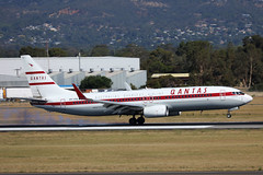 Qantas Airways B737-800 VH-VXQ landing ADL/YPAD (Jaws300) Tags: canon5d qantasairways specialcolors specialcolours specialcs paintscheme retro roo ii retroroo retrorooii 1959 retro1959 retro1959colours qf qfa qantas airways airline airlines canon ypad adl eos oz taxiing approach approaching landing b737800 b738 b737 boeing runway air ramp apron taxiway gate terminal parking stand australia adelaide adelaideairport airplane aircraft vhvxq australiasoverseasairline touchdown tiresmoke
