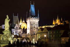 So Many Spires! (peterreading) Tags: charles bridge prague city tourist tourism night evening spire tower statue monument castle history czech repulic europe european buildings cityscape historic heritage old aged medieval architecture lighting