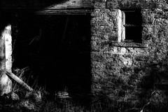 Barn (tonguedevil) Tags: outdoor outside countryside winter barn building door window wall stone bw farm farming weardale derelict abandoned