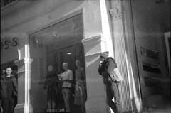 Watcher (4foot2) Tags: watching watch streetphoto streetshot street streetphotography candid candidportrate reportagephotography reportage people peoplewatching peopleofbrighton interestingpeople analogue film filmphotography mediumformat monochrome mono bw blackandwhite oldfilm outofdatefilm expiredfilm experimental boxcamera standdevelop rodinal ilford ilfordfp4 kodakbrowniesix20modelcboxcamera kodakbrowniesix20modelc box camera kodakbrownie six20 modelc 620 kodak brownie 2019 fourfoottwo 4foot2 4foot2flickr 4foot2photostream