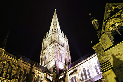 Salisbury by night. The Cathedral spire