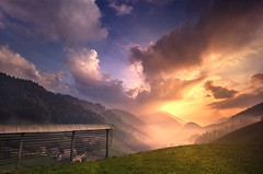 Spodnja Sorica Sunrise Slovenia (Russell Eck) Tags: spodnja sorica sunrise slovenia europe zgornja triglav national park mountain town village beautiful color colorful russell eck nature landscape wilderness nikon d5100 mountainscape clouds dynamic