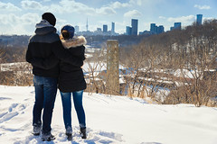 Taking in the View (A Great Capture) Tags: couple engagementphotography inlove city evergreenbrickworks governorslookout brickworks agreatcapture agc wwwagreatcapturecom adjm ash2276 ashleylduffus ald mobilejay jamesmitchell toronto on ontario canada canadian photographer northamerica torontoexplore winter l'hiver 2019 downtown lights urban cold snow weather cityscape urbanscape eos digital dslr lens canon 6d mark ii ef2470mm 2470mm skyline towers tower buildings structure urbannature scenery scenic sky himmel ciel bluesky outdoor outdoors outside vibrant colorful cheerful vivid bright architecture architektur arquitectura design rb
