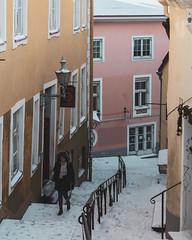 Tallinn       Lühike jalg (JB_1984) Tags: woman person pedestrian steps stairs street streetphotography snow winter baltic tallinn estonia eesti nikon d500 nikond500