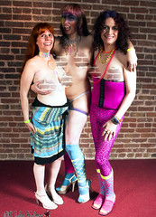 20180311 0211 - Crucible - Risque - Holi - Carolyn, Clio, Natasha - IMG_6701 - (by John Holmes) (censored) (Clio CJS) Tags: 20180310 201803 2018 censored edited washington dc club washingtondc thecrucible risque risque20180310 camerapersonjohnholmes standing natasha bodypaint paint body spiral spirals holographiccollar collar holographic facepaint face grabbingbreast grabbing breast clio carolyn smiling smile districtofcolumbia unitedstates