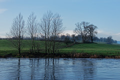 Pale Midwinter Light (scottprice16) Tags: england lancashire ribblevalley ribbleway winter morning midwinter 2018 december river riverribble trees farm fence hills grass bare sky blue sony sonyrx10 calm reflections landscape view corner cloud mist