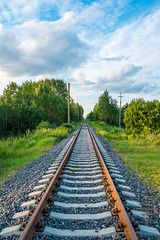 Into the distance (IronBokeh) Tags: minsk belarus landscape green greenery trees forest train traintracks horizon blue sky white clouds summer bright