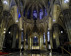 Lights of Manhattan (brucecarlson66) Tags: st patrick's cathedral new york city manhattan roman catholic landmark neo gothic style architecture religion stained glass light shadow shine opulence grandeur cross altar gold blue marble dome arch red alcove peace