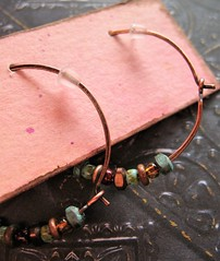 hand forged antiqued copper hoops with bead mix 3 (msficklemedia) Tags: handforged artisanjewelry handcrafted earrings recycledmetal stone beads sterling silver missficklemedia