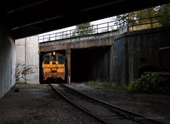 Down in the Trenches (Carlos Ferran) Tags: shortline johnstown pa cbl conemaugh black lick pennsylvania steel gritty urban train trains emd sw8 yellow gray bridge ns pittsburgh line uss