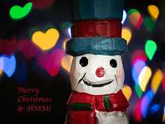 "Merry Christmas everyone... ""Holiday Bokeh"" (susie2778) Tags: olympus omdem1mkii olympusm60mmf28macro holidaybokeh macromondays snowman heart bokeh heartbokeh scarf hat colourful"