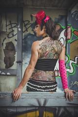 Christel (www.michelconrad.fr) Tags: bleu vert canon eos6d eos 6d ef24105mmf4lisusm 24105mm 24105 femme modele portrait jupe minijupe urbex rose chapeau tatouage