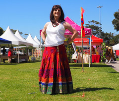 And My First Post-Frocktober Outfit Is ... (justplainrachel) Tags: justplainrachel rachel cd tv crossdresser transvestite white camisole top indian ethnic skirt long pattern print wollongong festival
