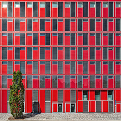 Lost in Red (Paul Brouns) Tags: architecture architectuur architektur abstract abstractarchitecture abstraction abstrakt red rot rood facade straightfacade square düsseldorf germany geometry urban rhythm windows parking garage building lost tree tapestry geometric geometrical paul brouns paulbrouns paulbrounscom