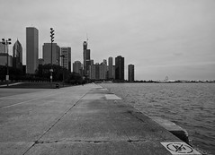Lakefront (ancientlives) Tags: chicago illinois il usa travel trips lake lakemichigan lakefronttrail path walking downtown buildings architecture towers skyscrapers skyline city cityscape mono monochrome blackandwhite bw water weather cold tuesday 2018 autumn november