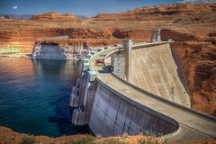 Glen Canyon Dam (donnieking1811) Tags: arizona page glencanyondam glencanyon dam glencanyonnationalrecreationarea water concrete rock hills landscape outdoors sky clouds blue cars hdr canon 60d lightroom photomatixpro mountain