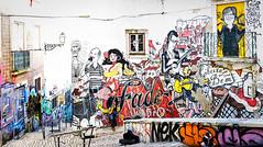 Lisbon, December 21, 2018 (Ulf Bodin) Tags: winter urbanlife streetphotography urban fake lisbon canonrf50mmf12lusm outdoor music lissabon alfama graffiti lisboa canoneosr portugal pt saxophone man panorama