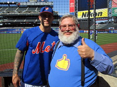 Citi Field, 09/30/18 (NYM v MIA): I got my picture taken with an actual genuine real Mets player!  Or did Tyler Bashlor get his picture taken with the famous Thumbs Down Guy?  Discuss.  (IMG_4320a) (Gary Dunaier) Tags: ballparks baseball stadiums stadia mets newyorkmets flushing queens newyorkcity queenscounty queensboro queensborough citifield