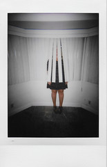 Day 051 (H o l l y.) Tags: lomography instax mini instant film analog flash girl blinds vignette self portrait alone hiding window home meet old friend today collaborate afternoon busy good retro indie vintage fashion