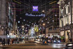 Lights in OxSt. (Ale_Car) Tags: london londra city uk street nikon nikkor d3100 35mm18 travel holiday flight lights people night shopping shop europe