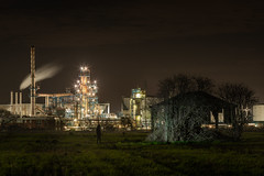 Fallout (Rob Pitt) Tags: eastham oil refinery night canon 70200 f4 l sony a7rii wirral silhouette cheshire lightpainting torch barn trees