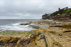 Momentary rush of excitement (JustAddVignette) Tags: australia cliff clouds cloudy deewhy early headland landscapes longexposure newsouthwales northernbeaches ocean rocks seascape seawater sky sydney water waves