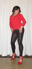 wetlook leggings complemented with red pumps and top (Barb78ara) Tags: redpumps strappyheels strappyredheels strappypumps leggings leatherlook wetlook wetlookleggins redtop tightredtop rednails highheels highheelpumps stilettoheels