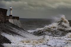 Holding Back the Sea (cotswoldman) Tags: waves seascape seaside coast colour storm stormdiana crestofawave porthcawl wales gloucestercameraclub roughsea bridgend glamorgan southwales bristolchannel