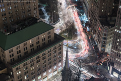 Park Row Composite (20190202-DSC08451-Edit) (Michael.Lee.Pics.NYC) Tags: newyork parkrow aerial lookingdown stpaulschapel broadway cityhall lowermanhattan cityhallpark hotelview milleniumhilton millenniumhilton composite lighttrails traffic longexposure night architecture cityscape street sony a7rm2 fe24105mmf4g