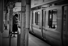 Alone (reiko_robinami) Tags: streetphotography station platform monochrome blackandwhite urban oneperson train tokyo japan