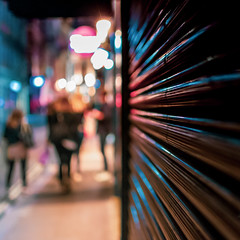 Walk On The Wild Side (DobingDesign) Tags: bokeh streetphotography colours night lights nightcolours nightshot nighttime nightlife london shutters people patterns lightandshadow pattern line stripes reflection shiny