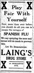 Advertisement for Laing's Drug Store (ArchivesOfOntario) Tags: wwi firstworldwar advertisement newspaper microfilm windsor spanishflu influenza drug pharmacy medicine ontario pandemic