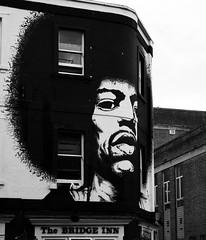The Bridge Inn, Bristol (Hammerhead27) Tags: mural streetart artist hair head face afro building wall painting england bw mono monochrome blackandwhite urban graffiti pub thebridgeinn bristol