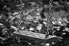 No One Played With Me Today (Robin Shepperson) Tags: swing playground missing melancholy sad blackandwhite bw grey monochrome berlin germany d3400 nikon nikkor chains plastic seat toy