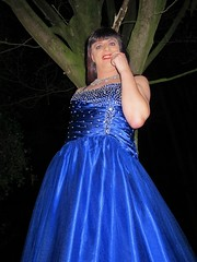 Night lady (Paula Satijn) Tags: girl lady dress gown ballgown satin silk shiny skirt blue garden outside chic classy posh elegant happy smile joy fun peasure girly feminine sparkly beads sweet pretty cute night